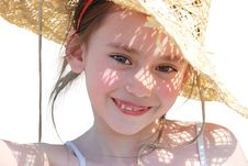 The Happy Girl In A Straw Hat Stock Images