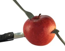 Free Red Apple With Knife, Spoon And Fork Stock Photography - 8560312