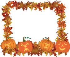 Carved Pumpkins Making A Frame Border.. Royalty Free Stock Photo