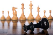 Fallen Black Chess Queen Stock Photos