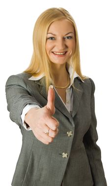 Businesswoman Show Thumb Up Sign Stock Images
