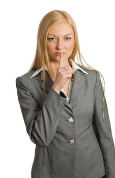 Free Businesswoman Show Quiet Sign Stock Images - 8562154