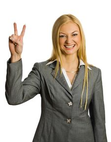Free Businesswoman Show Victory Sign Royalty Free Stock Image - 8562176