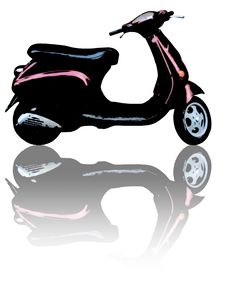 Free Scooter With Reflection Stock Photography - 8562302