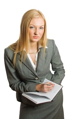 Free Portrait Of Pretty Writing  Blonde Stock Image - 8562471