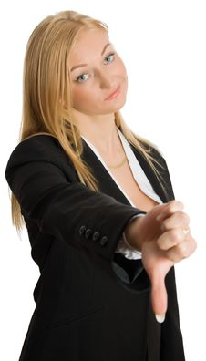 Free Businesswoman Show Thumb Down Sign Royalty Free Stock Photography - 8562937