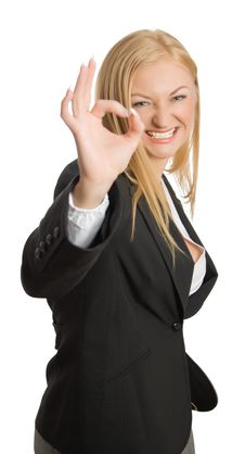 Free Businesswoman Show Ok Sign Stock Image - 8562961