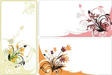 Bouquets. Backgrounds For Three Cards Royalty Free Stock Images