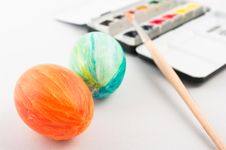 Free Easter Egg With Brush And Palette Stock Photo - 8564060