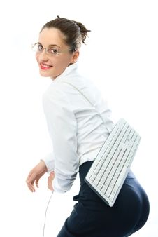 Free Businesswoman With A Keyboard Royalty Free Stock Image - 8564346