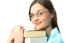 Happy Student With Books Royalty Free Stock Image