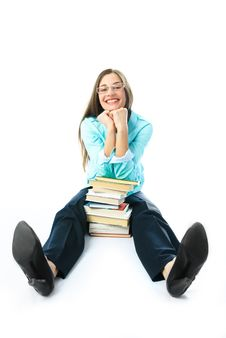 Happy Student With Books Stock Images
