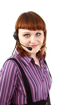 Beautiful Representative Girl With Headset Stock Photos