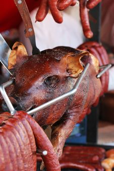 Free Baked Pig On The Grill Stock Photo - 8564830