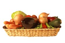 Free Vegetables In Basket, Isolated On White Royalty Free Stock Photo - 8565315