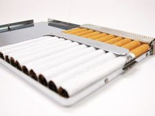 Free Cigarettes In Metal Case (close Up) Royalty Free Stock Photography - 8565667