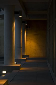 Evening Pillars Lit Up Royalty Free Stock Image