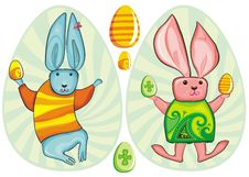 Free Vector Easter Bunnies In Eggs Royalty Free Stock Images - 8567089