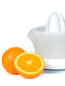 Oranges And Juicer Stock Photography