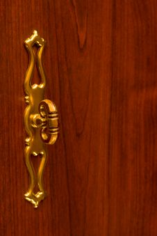 Retro Handle On Wooden Door Stock Photography