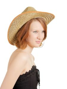 Free Girl In A Straw Hat Stock Photos - 8568643