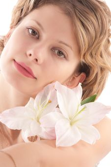 Free Portrait Of Attractive Blond Girl With White Lily Stock Images - 8568824