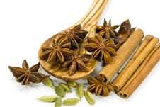 Cinnamon Sticks,Cardamom,vanilla Bean And Star Ani Royalty Free Stock Image