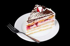 Free Fancy Cake With Cherry On Top Stock Image - 8569471