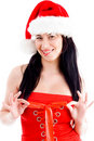 Free Beautiful Young Woman Wearing Christmas Hat Stock Images - 8573614