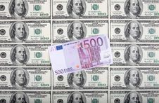 Free 500 Euro Are On A Background From Dollars Stock Photos - 8571853