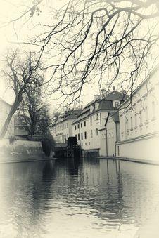 Water Mill In Prague Retro Photo Stock Image