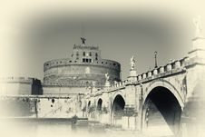 Free San Angelo Bridge And Castle In Rome,Italy Stock Photos - 8571993