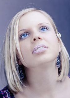 Free Girl Face With Blue Eyes Stock Photography - 8572202