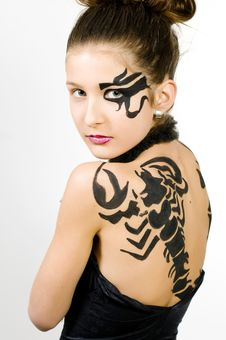 Free Girl With Scorpio Painted On Back Stock Photo - 8572530