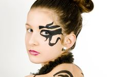 Free Closeup Girl With Scorpio Painted On Back Stock Images - 8572834