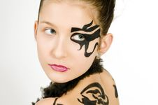 Free Closeup Girl With Scorpio Painted On Back Stock Photography - 8572872
