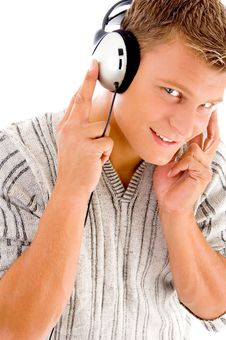 Free Man Listening To Music On Headphone Royalty Free Stock Image - 8573186