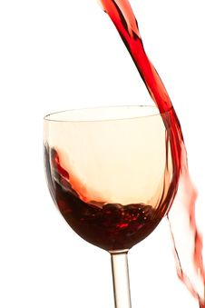 Pour The Wine Into The Glass On A White Background Stock Photo