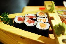 Sushi Maki With Salmon And Tuna Stock Image