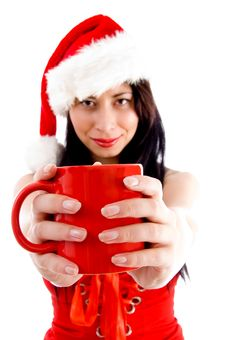 Free Female In Christmas Hat Holding Coffee Mug Stock Photo - 8573640