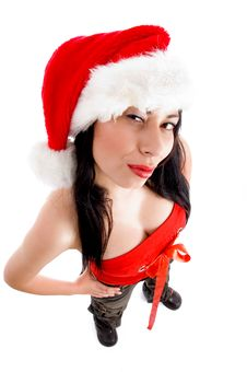 Free Stylish Pose Of Young Model In Christmas Hat Stock Image - 8573641