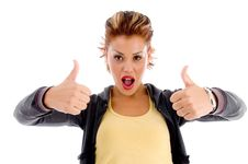 Free Female Showing Thumbs Up With Both Hands Royalty Free Stock Photography - 8574087