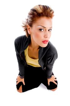 High Angle View Of Sitting Woman Looking At Camera Stock Photo