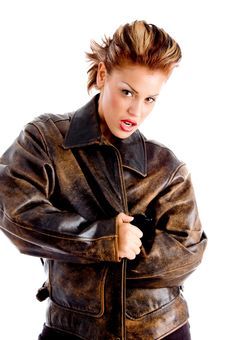 Young Woman Wrapping Herself With Jacket Royalty Free Stock Photo