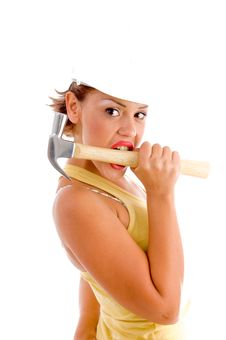 Free Side View Of Woman Holding Hammer With Mouth Stock Photography - 8574352