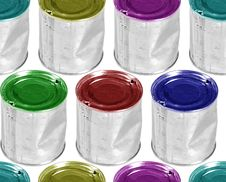 Free Six Colour Metal Cans Royalty Free Stock Photos - 8574548