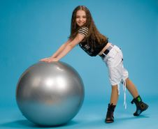 Free Young Girl With A Big Rubber Ball Stock Photos - 8575023