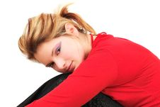 Free Girl In Red Having Rest Royalty Free Stock Image - 8575836