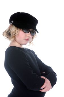 Free Cute Girl In Black Shirt, Hat, And Sunglasses Royalty Free Stock Photos - 8576878