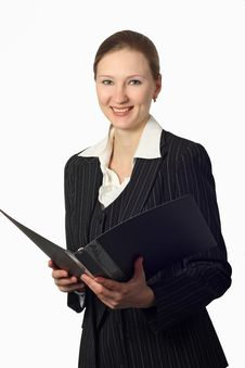 Free Young Beautiful Businesswoman With Folder Stock Images - 8578214
